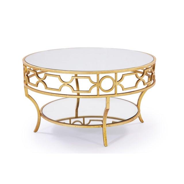 Circular Gold Glass Coffee Table: Verona Mirror Top Round Coffee Table