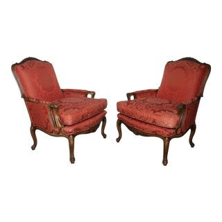 Italian Rococo Style Upholstered Armchairs- A Pair