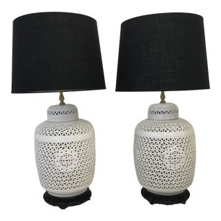 Mid-Century Pierced Asian Style Lamps - A Pair