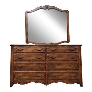 Ethan Allen Fruitwood Dresser & Mirror