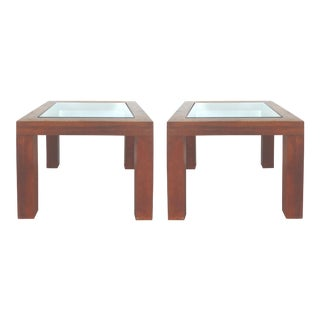 Mid-Century Modern Teak & Glass Side Tables - a Pair
