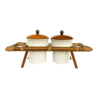 Ceramic Jars in Wooden Caddy - A Pair