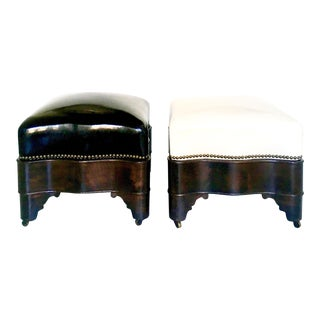 Antique Patent Leather Footstools - A Pair