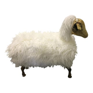 Brass and Faux Lambswool Sheep Footstool