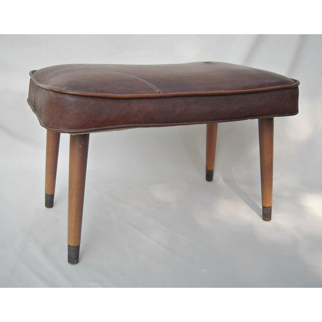 Danish Modern Brown Vinyl Ottoman - Image 2 of 6