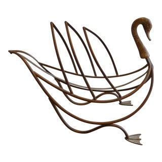 Maison Jansen Patinated Brass Swan Magazine Rack