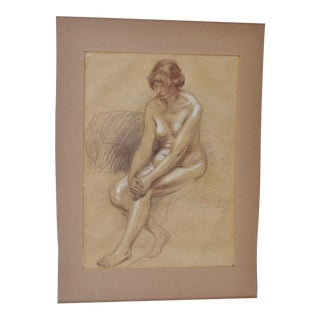 1920 Vintage Chalk Figural Nude Drawing by Theophile Alexandre Steinlen