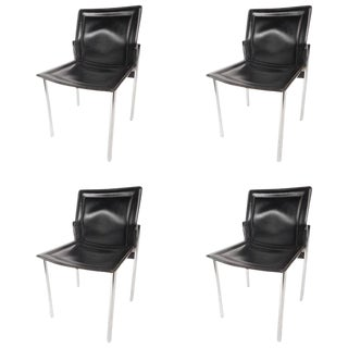 Mid-Century Modern Leather Dining Chairs - Set of 4