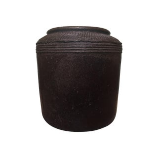 Thai Textured Dark Brown Ceramic Planter
