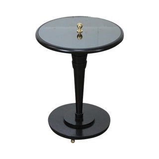 Ebonized Round Mirror Top Art Deco Style Pedestal Table