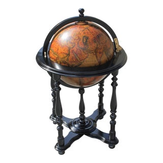 French Mid-Century Solid Mahogany World Globe Bar
