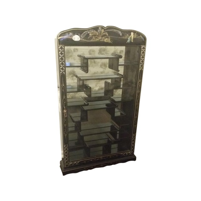 Black Lacquer Chinese Curio Display Cabinet - Image 1 of 6