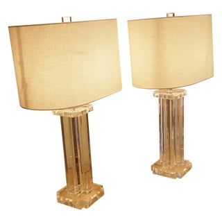1970s Modern Acrylic Table Lamps- A Pair