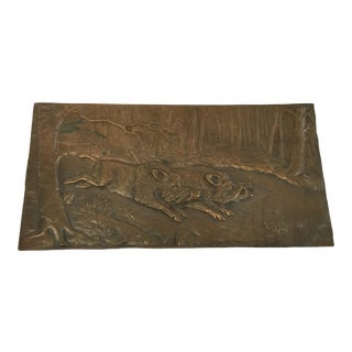 Bronze Relief Placque Wild Boar by H Henjes Circa 1880