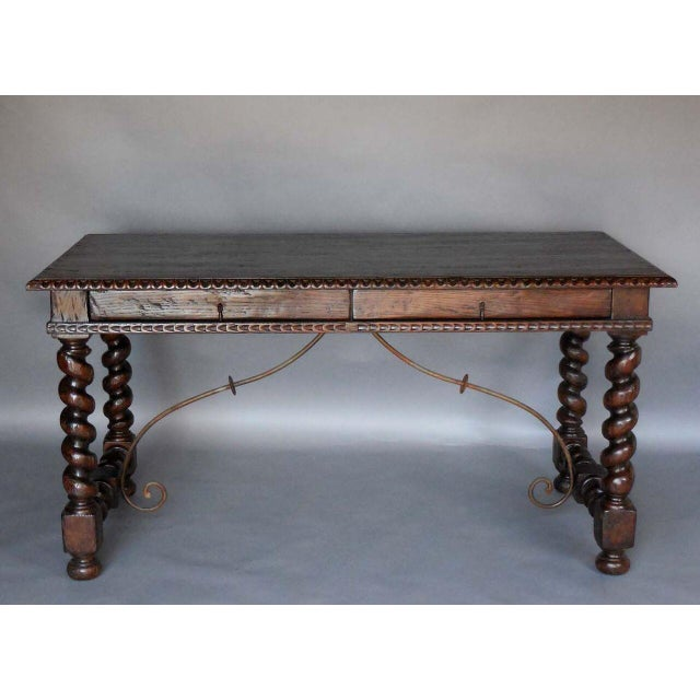 Custom Wood Writing Desk with Spiral Legs, Two Drawers and Iron Supports - Image 3 of 9