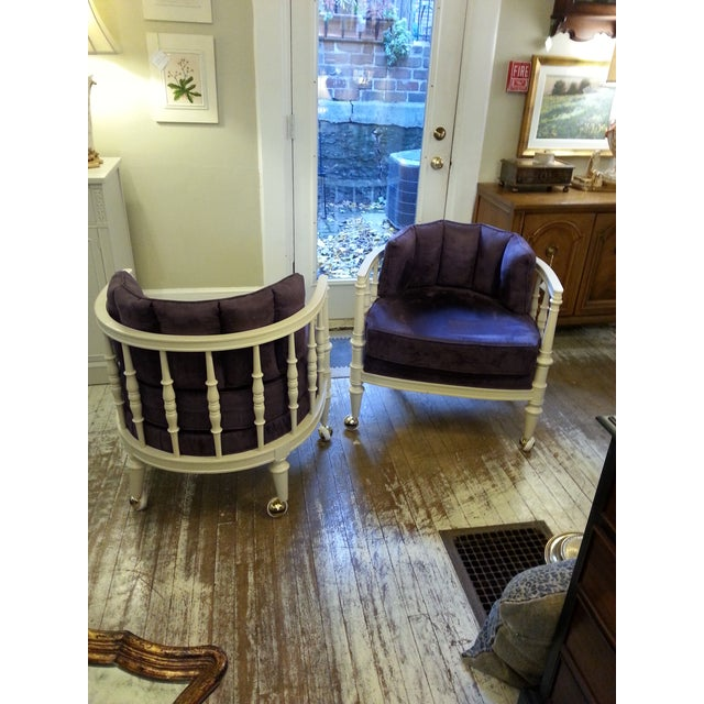 Vintage Purple Club Chairs - A Pair - Image 5 of 5