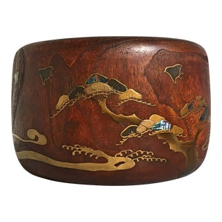 Japanese Meiji Period Large Hibachi Planter with Lacquer and Mother of Pearl Embellishments