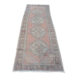 "Handwoven Tribal Oushak Runner Rug - 34"" x 115"""