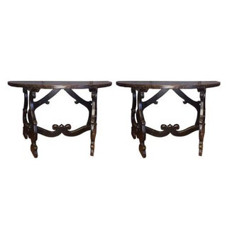 18th Century Pair of Demilune Refectory Tables, Italy