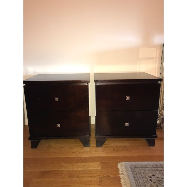 Two-Drawer Wooden Nightstands - Set of 2 - Image 2 of 5