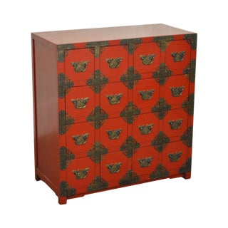Red Painted 16 Drawer Asian Chest w/ Butterfly Hardware