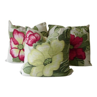 Vintage Red & Green Fabric Pillow Covers - Set of 3
