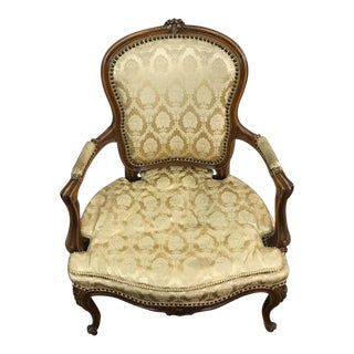 French Carved Wood Fauteuil Armchair