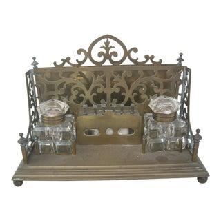 Antique Brass Desk Set