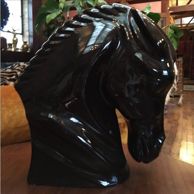 Mid-Century Black Ceramic Horse Bust - Image 2 of 7