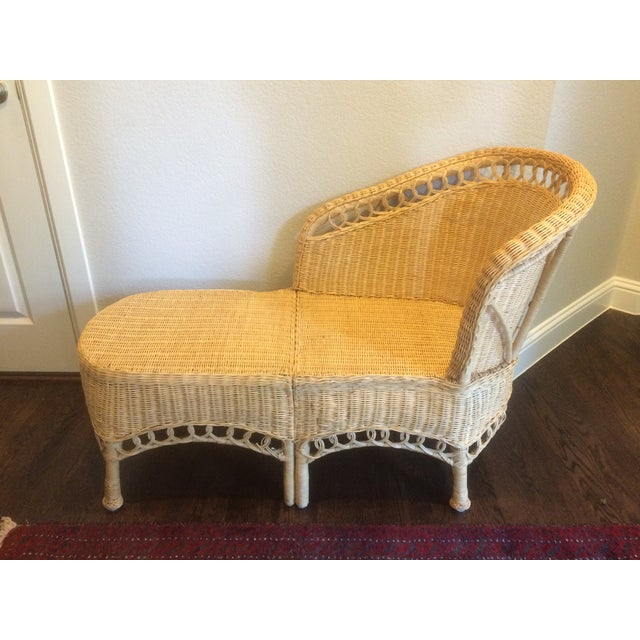 Vintage wicker chaise lounge chairish for Antique wicker chaise lounge