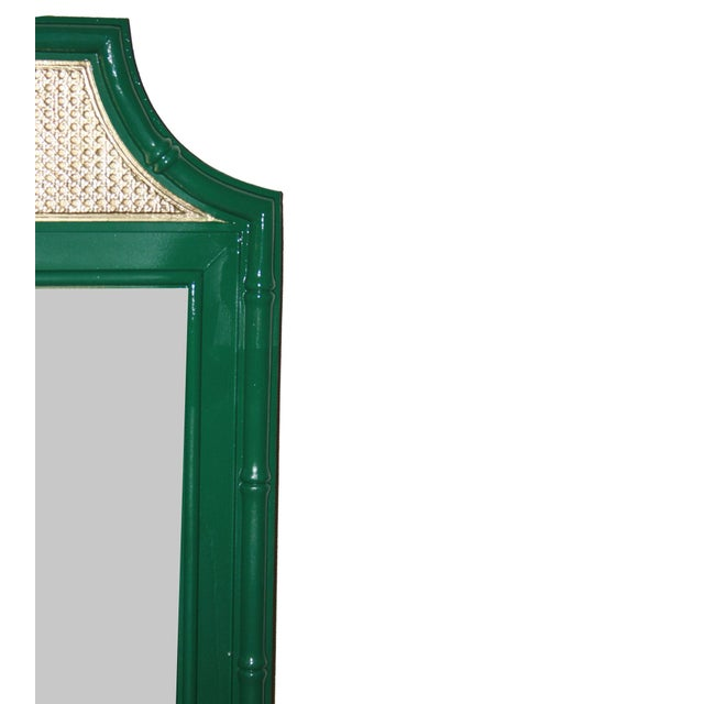 Image of Vintage Green & Gold Faux-Bamboo Mirror