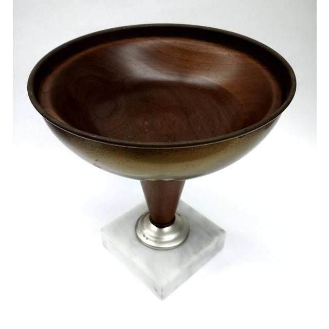 Image of Art Deco Marble Silver Brass & Wood Pedestal Bowl