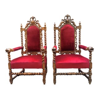 Antique Carved Oak Jacobean Style Barley Twist Armchairs - A Pair