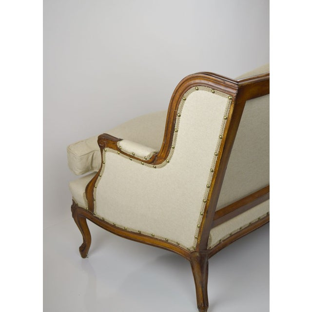 Image of Vintage French Settee with New Linen Upholstery