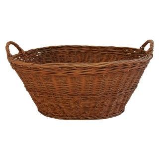 Antique Woven Wicker French Market Basket