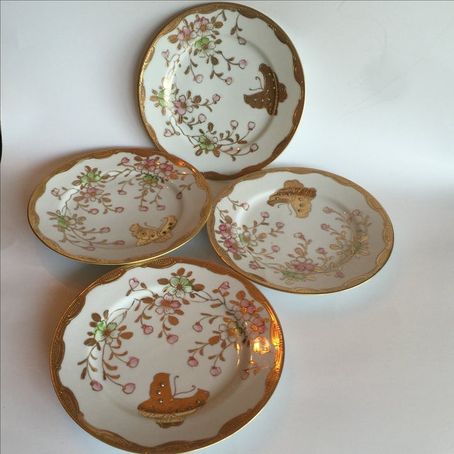 Mid-Century Asian Butterfly Plates - Set of 4 - Image 6 of 10