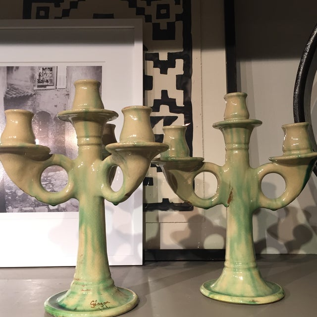 Image of Old Italian Candlestick Holders - A Pair