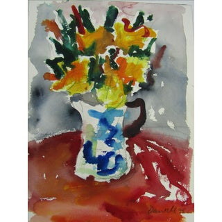 George Daniell Original Bright Floral Watercolor