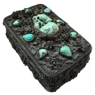 19th Century Turquoise and Silver Decorative Box