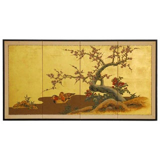 Japanese Four Panel Screen of Ducks and Prunus on Gold Leaf