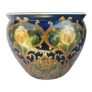 Chinese Porcelain Fishbowl Planter Hollywood Regency Cobalt
