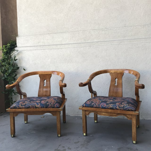 Mid-Century Regency Horseshoe Chairs - A Pair - Image 2 of 7