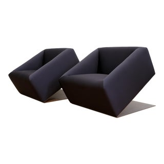 Black Silk Modern Custom Club Chair - A Pair