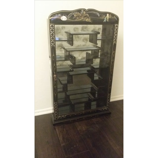 Image of Black Lacquer Chinese Curio Display Cabinet