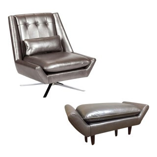 Elite Leather Mid-Century Modern Chair and Ottoman Set