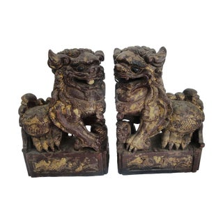 1920s Carved Wood Foo Dogs - A Pair