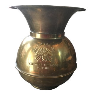 Vintage Brass Redskin Brand Spittoon