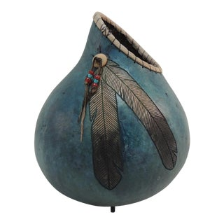 American Indian Painted Gourd Vase