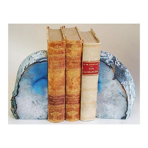 Image of Blue And Ice Crystal Rock Bookends - Pair