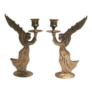 Brass Angel Candlesticks - A Pair